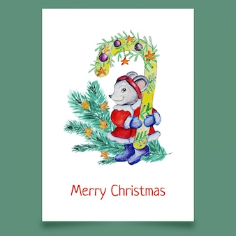 Greeting card with mouse and christmas tree