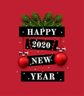 Greeting card with new year greeting, fir branches, decorations. 2020 new year