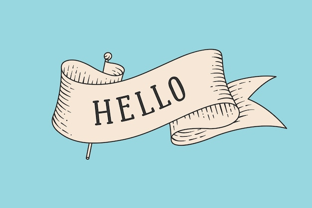 오래 된 빈티지 리본 및 단어 안녕하세요 인사말 카드. 복고 스타일 조각에 오래 된 리본 배너입니다. 오래 된 학교 손으로 화려한 배경에 카드 또는 배너 빈티지 리본 그린.