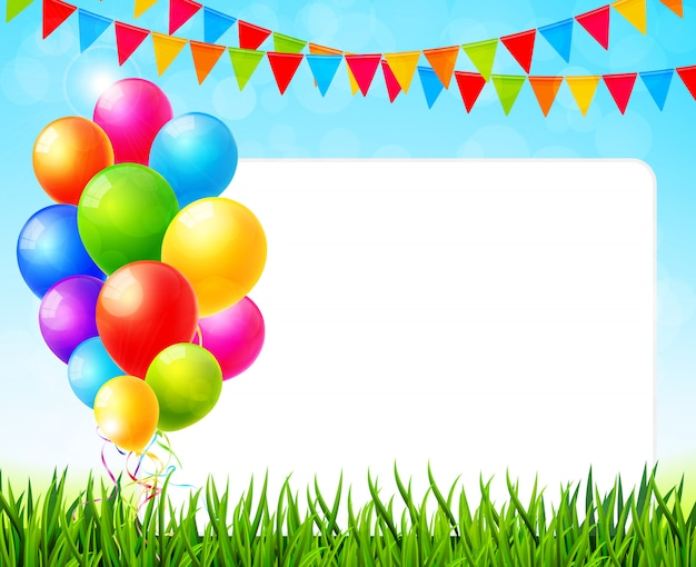 Greeting card with paper sheet and colorful balloons on green grass vector