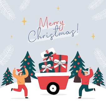 Greeting card with people carriying a lot of presents in winter landscape