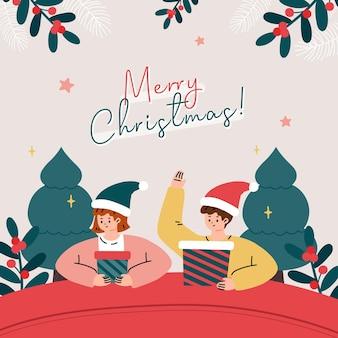サンタの帽子とプレゼントを持っている人とのグリーティングカード