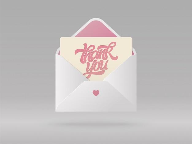 열린 봉투에 문구 감사 인사 카드. 아름다운 현실적인 그림. 엽서, 배너, 포스터 브러시 글자를 작성하는 손. 삽화.