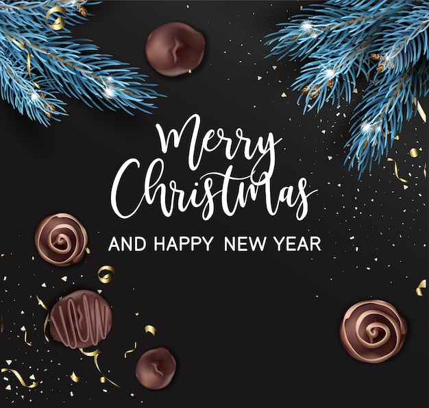 松の木の枝と甘いチョコレート菓子のグリーティングカード