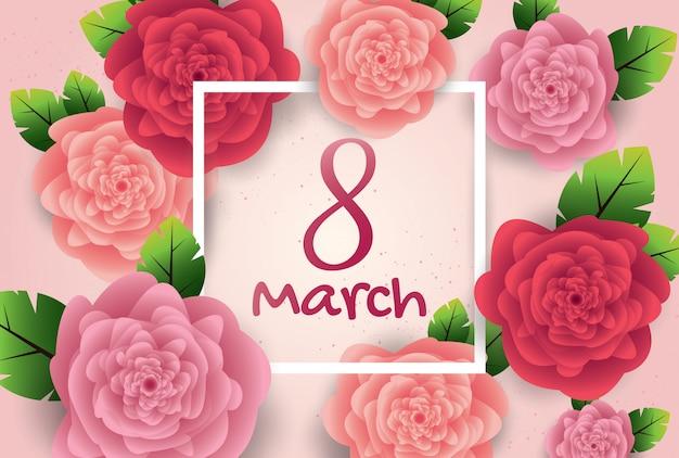 ピンクのバラとグリーティングカード。