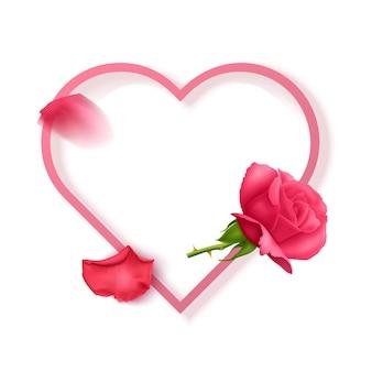 ピンクのテキストフレームとバラで飾られたバラの花びらのポストカードとグリーティングカード