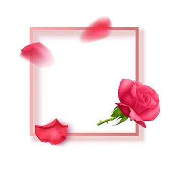 Greeting card with pink text frame and rose petals with roses