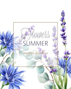Greeting card with place for text. blue cornflower, twig and lavender