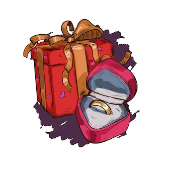 Открытка с настоящим подарком в праздничной коробке, обручальное кольцо в форме сердца бархатной коробке.