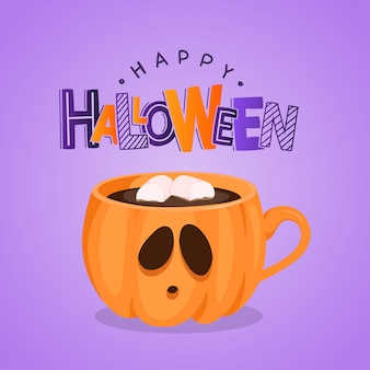 Greeting card with pumpkin coffee cup and lettering. happy halloween. illustration