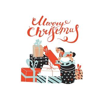 Поздравительная открытка с цитатой с рождеством и большой коллекцией подарков. деревянная лошадь, красочные бумажные подарочные коробки. плоский стиль в векторной иллюстрации. с новым годом. изолированные элементы.