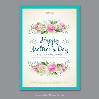 Greeting card with realistic flowers for mother's day