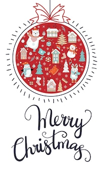Greeting card with red christmas ball, lettering and christmas elements. vertical vector illustration.