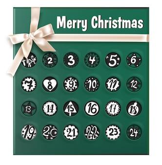 Поздравительная открытка с лентой и бантом, датами и декоративными украшениями. рождественский календарь с неделями и днями