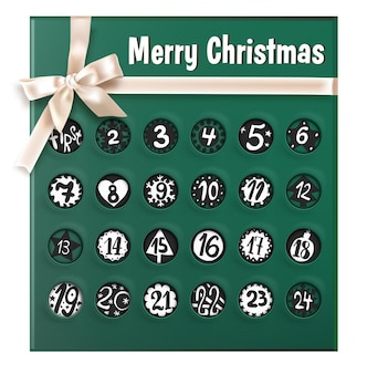 Greeting card with ribbon and bow, dates and decorative ornaments. christmas calendar with weeks and days