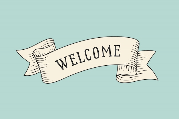 Greeting card with ribbon and word welcome