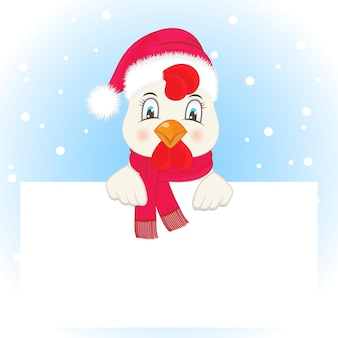 Greeting card with a rooster in a santa claus hat and scarf.