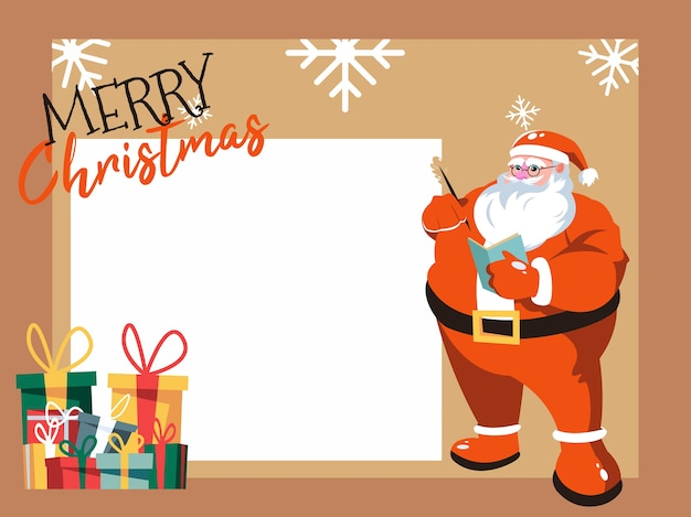 Greeting card with santa claus. merry christmas and happy new year
