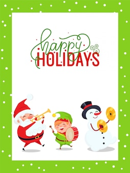 Greeting card with santa claus, snowman and elf