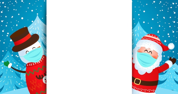 Greeting card with santa and snowman in masks wishing merry christmas and happy new year
