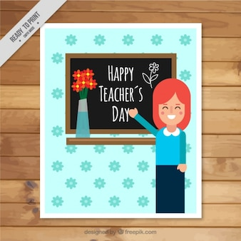 Greeting card with a smiling teacher