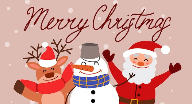 A greeting card with a snowman, a reindeer and santa claus and the inscription merry christmas.