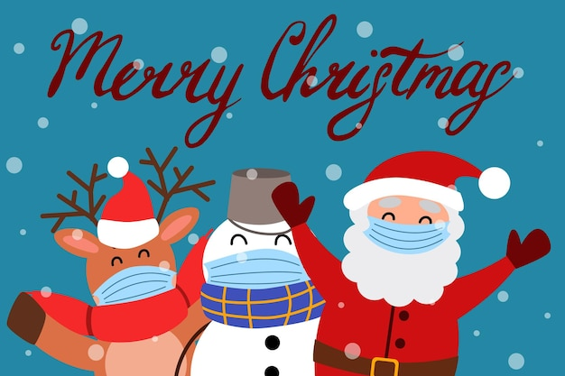 A greeting card with a snowman a reindeer and santa claus in medical masks
