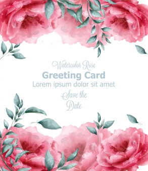Greeting card with spring flowers banner watercolor