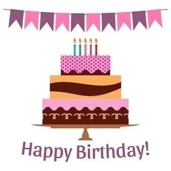 생일 축 하에 대 한 달콤한 케이크와 함께 인사말 카드입니다. 벡터 일러스트 레이 션