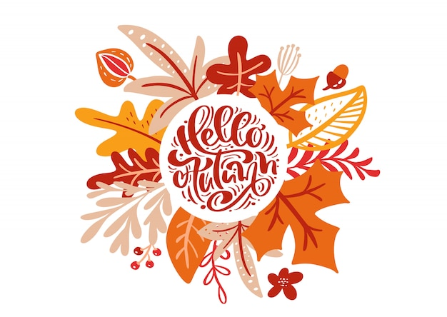 Greeting card with text hello autumn