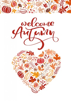 Greeting card with text welcome autumn