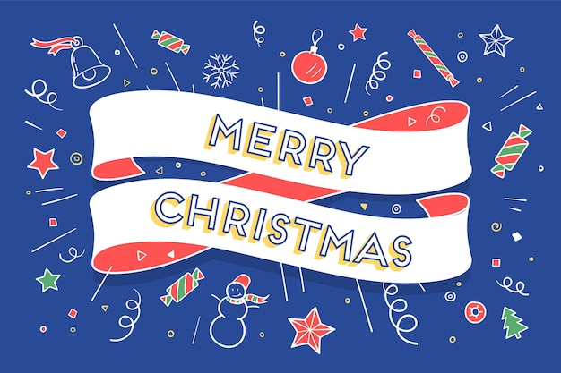 トレンディなリボンとテキストのクリスマスをテーマにしたメリークリスマスのグリーティングカード。