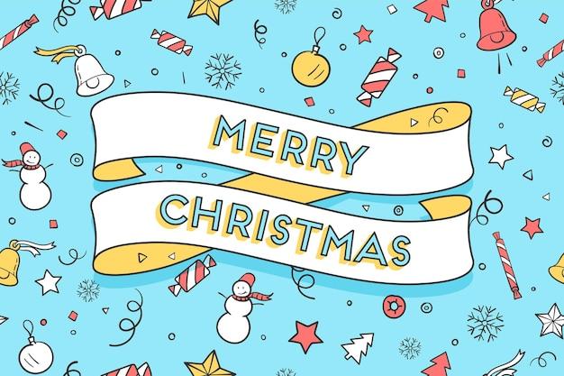 幸せなカラフルなシームレスなパターンと背景にトレンディなリボンとテキストメリークリスマスのグリーティングカード。バナー、ポスター、または包まれた紙のクリスマスをテーマにしたイラスト。ベクトルイラスト