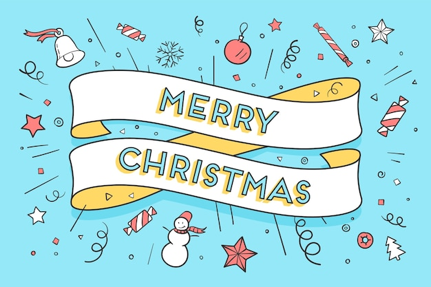 Greeting card with trendy ribbon and text merry christmas for christmas theme.