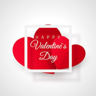 Greeting card with valentine's day. heart with text in frame.  illustration on white background