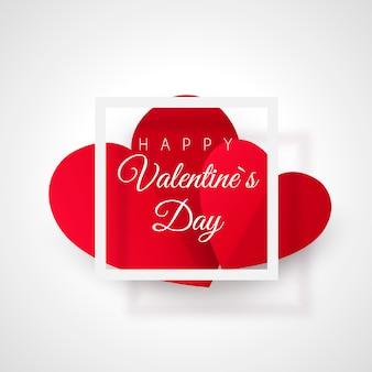 Открытка с днем святого валентина. сердце с текстом в рамке. иллюстрация на белом фоне