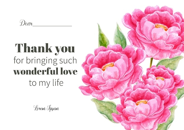 Greeting card with watercolor flower for wedding, farewell, valentine.