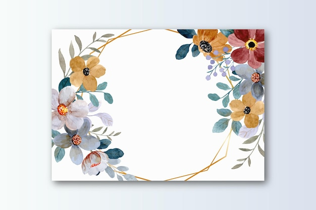 Greeting card with watercolor flower
