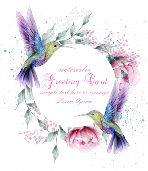 Greeting card with watercolor humming bird wreath
