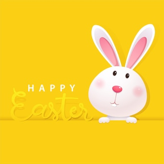 Greeting card with white easter bunny on yellow background. happy easter lettering card with cute rabbit
