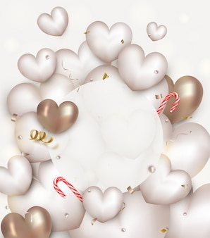 Greeting card with white and gold 3d hearts, candy cane, confetti, round frame  .valentines day concept.