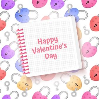 Открытка с листом белой бумаги и красочными бесшовными на день святого валентина
