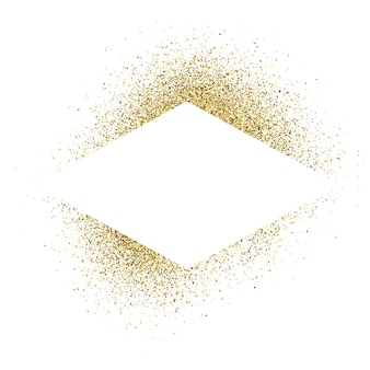 Greeting card with white rhombus frame on golden glitter background. empty white background. vector illustration.