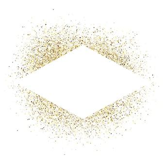 Открытка с рамкой белый ромб на фоне золотой блеск. пустой белый фон. векторная иллюстрация.