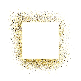 Greeting card with white square frame on golden glitter background. empty white background. vector illustration.