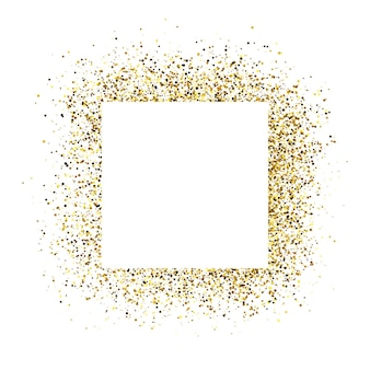Открытка с белой квадратной рамкой на фоне золотой блеск. пустой белый фон. векторная иллюстрация.