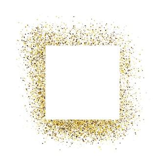 金色のキラキラ背景に白い四角いフレームのグリーティングカード。空の白い背景。ベクトルイラスト。