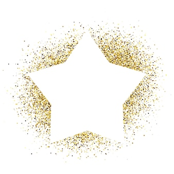 Greeting card with white star frame on golden glitter background. empty white background. vector illustration.