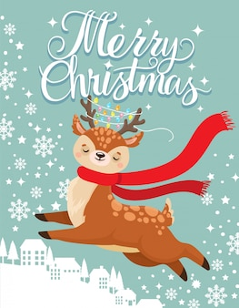 Greeting card with xmas deer. merry christmas postcard, cute fawn and winter holidays cartoon vector illustration