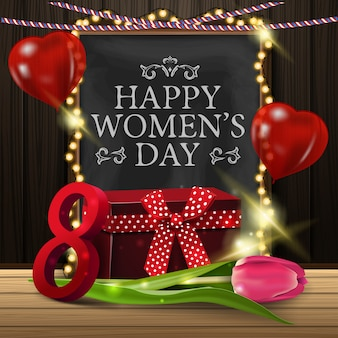 Greeting card for women's day with chalkboard